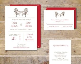 Barn Wedding, Adirondack Chair Wedding Invitations, Rustic Wedding Invitations, Adirondack Chairs, Outdoor Weddings, Affordable Wedding