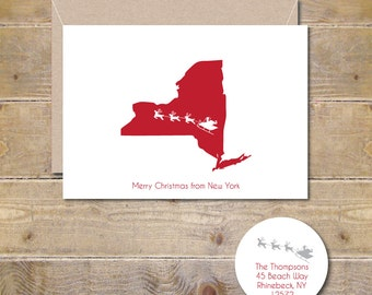 Christmas Cards, Holiday Cards, Santa,  State Silhouettes, Silhouettes, Reindeer, Rudolph, Handmade, Christmas Card Set, New York