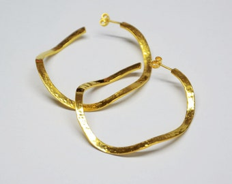 sterling silver 24 ct gold plated hammered medium organic hoops earrings