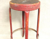Metal Stool , Antique Metal Stool , Seating , Kitchen Stool , Red Metal , Red , Antique , Industrial , Weathered , Chippy , Rustic , Chair