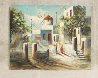 Landscape Painting, Cityscape, Signed, Art, Fine Art, Original, Original Art, Windmill, Architecture, Buildings, Handmade, Oil Painting