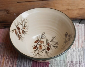 Large handmade ceramic bowl - 32 oz bowl - Handmade pottery serving bowl - Large Rustic Pottery Bowl - Pinecone design - 120504