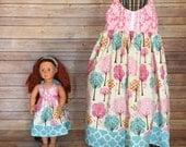 Dolly and Me trees summer sundress, size 1-12, girls knot dress, girls spring  sundress