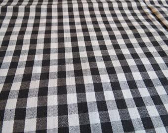 36W Vintage BLACK Gingham TINY Check Cotton Fabric 2 yards