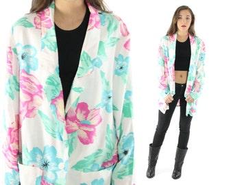 Vintage 80s Floral Blazer Turquoise White Flowers Rayon Boyfriend Jacket Slouch Oversized 1980s Medium M Large L