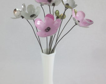 Delightful Pink and White  Bouquet Forever Blooming Tin Flowers