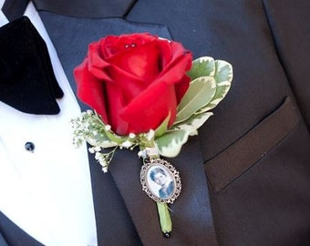 Boutonniere Charm, Lapel Pin, Custom Photo Brooch, Memorial Charm, In Loving Memory, Bridal Bouquet Charm