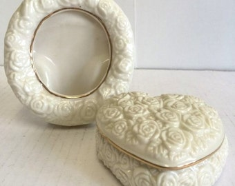 Vintage Lenox Porcelain Heart-Shaped Trinket Box and Heart Shaped Picture Frame Ivory with Gold Trim