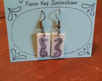 Scrimshaw Earring Set Seahorse OOAK Great Gift Idea