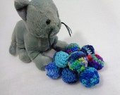RESERVED 10 Small Cat Toys, Kitty Cat Jingle Bell Toys, Shades of Blue Jingle Bell Balls, Gift for Pet by Crocheted by Charlene