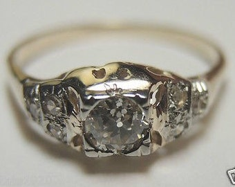 Antique Diamond White Gold and Yellow Gold Engagement Ring | RE: 611