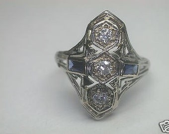 Antique Diamond Sapphire White Gold Engagement Ring | RE: 418