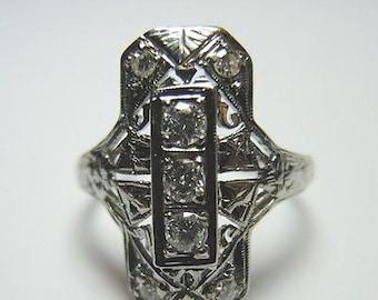 Antique Art Deco Diamond White Gold Engagement Ring | RE: 737