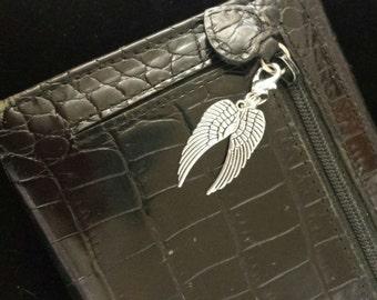 Angel wing zipper pull, charm