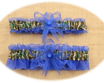 Camouflage Wedding Garter Set,Sheer Blue, Mossy Oak, Bridal Garter, Camo Garter Set