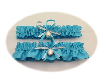 Turquoise Wedding Garter Set with Keepsake Locket  (Your Choice, Single or Set)