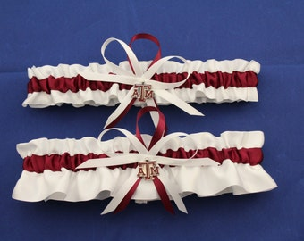 Wedding Garter Set with Texas A & M Colors, Bridal Garter Set, Bridal Gift