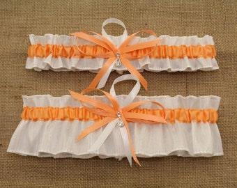 White and Peach Wedding Garter Set with Rhinestone Deco