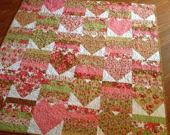 Pink Hearts Baby Quilt -- Woodland Bloom -- pink, tan, green, white