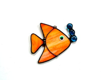 Little fish suncatcher, stained glass fish, orange fish, whimsical nautical summer home decor, glass suncatcher