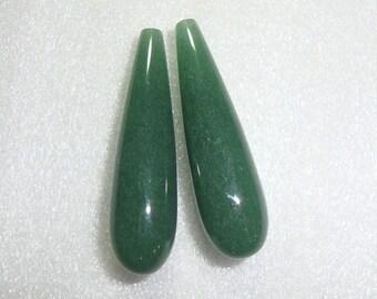 Green Aventurine Smooth Tear Drop Briolette, Half Drilled, one pair, 8x30mm, A Quality
