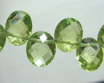 Natural Genuine Faceted Peridot Oval Pillow Briolette, 9-10x7-8mm