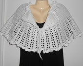 Crocheted white poncho/shawl/wrap//lacy stitch//formal wear//gift for her//gift for mother//20% off use code: ClearanceSale