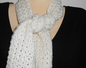 Off-white crocheted scarf with fringe//winter accessories//gift for her//20% off use code: ClearanceSale