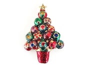 Christopher Radko Brooch, Christmas Tree, Christmas Ornament, Rhinestone Pin, Enamel, Red Green, Holiday Christmas Jewelry, Vintage Brooch