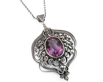 Vintage Sterling Amethyst Pendant Necklace - Victorian Style, Purple Gemstone, Sterling Silver, Silver Filigree, Vintage Necklace
