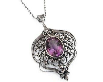 Victorian Revival, Sterling Necklace, Amethyst Gemstone, Sterling Silver, Silver Filigree, Pendant Necklace, Vintage Necklace