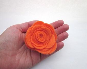 Orange Flower Brooch Pin, Orange Felt Flower, Orange Felt Accessories, Orange Lapel Pin, Large Orange Brooch, Orange Rose Clip, Felt Rose