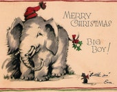 Vintage Christmas Card Elephant And Mouse 1930's
