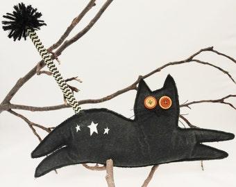 Black Cat - Soft Sculpture Kitten - Black Cat Art Doll - Quirky Cat - Leaping Black Kitten - Weird - Odd Cat - Cat Lovers Gift - A A Ron