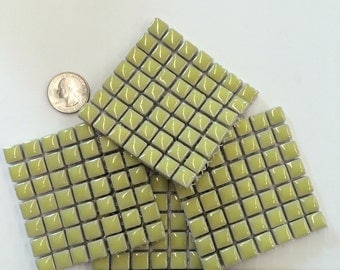 "H7160 Pale yellow 3/8"" Ceramic Mosaic Tile-49pc/Discount Mosaic Supplies//Mosaics//Ceramic Tile"