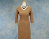 25% OFF Vintage 50s Hand Loomed Snyderknit Hourglass Wiggle Sweater Dress, Sz Med Medium 8 10