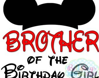 Mickey Brother of the Birthday Girl PRINTABLE Digital Iron-On Transfer Design - DIY - Do It Yourself - Birthday