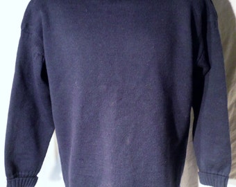 Womens Vintage Jonelle Brand Navy blue well made Wool Textured Sweater size L or Mens sz M (20 % DISCOUNT APPLIED)