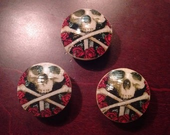 Handmade Knobs Drawer Pull Set of Skulls Dresser Knob Pulls Switch Plate Covers to Match in Shop