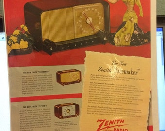 Zenith 1948 ad for the pacemaker, tournament, and zephyr models table radios.