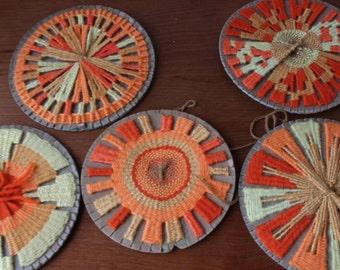 Vintage Hand Woven Yarn Art, Mid Century Modern, 5psc Set