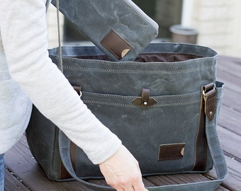 NO. 521 Waxed Canvas Tote Bag in Slate Gray Personalized Large Everyday Tote Bag with Multiple Pockets Travel Weekender Bag Made in the USA