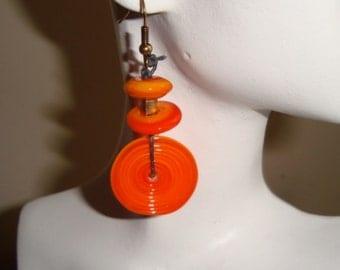 Orange Disk Earrings, Lampwork Glass Earrings, Artisan Earrings, Gypsy Earrings, Dangle Earrings, Long Drop Earrings, BOHO earrings