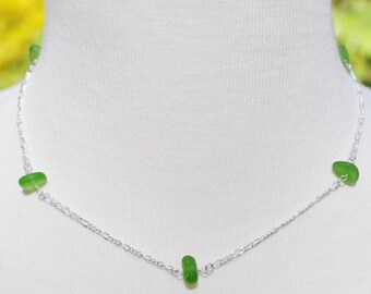 Sea Glass Beach Jewelry Eternity Necklace in Lime Green and Sterling Silver 3153 Free Shipping