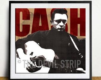 Johnny Cash fan art man in black red wood rockabilly western rock n roll gig poster style pop art 8x10 print portrait illustration