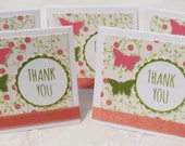 Mini Thank You Cards Handmade Pink and Green with Flowers and Butterflies 24