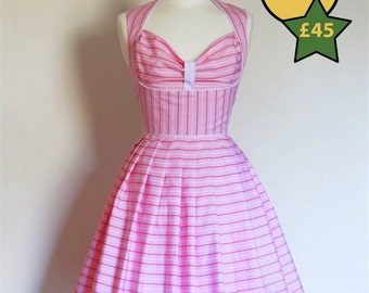 Size UK 10-12 - Pink, Red and White Striped Cotton Heidi Prom Dress - Made by Dig For Victory