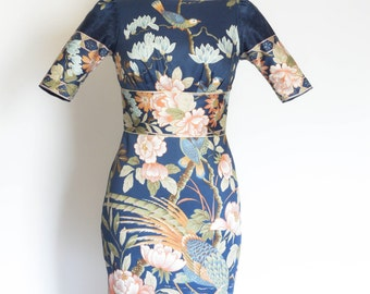 UK Size 8 Blue Oriental Bird Print Pencil Dress - Made by Dig For Victory