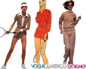 Vogue American Designer 1636 PENFOLD Retro Womens Stretch Tracksuit & Shorts 70s Vintage Sewing Pattern Size 12 UNCUT Factory Folds