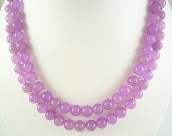 Long Jade Necklace Lilac Candy Jade Necklace Long Light Purple Necklace Lavender Jade Bead Necklace Long Lilac Jade Strand Lavender Jade